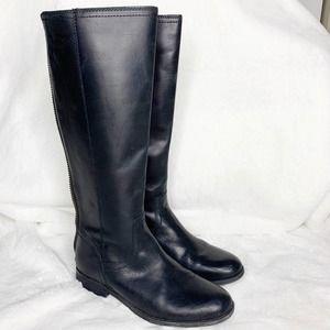 FRYE & Co Jolie Black Back Leather Zip Block Heel Tall Boots size 7.5 M